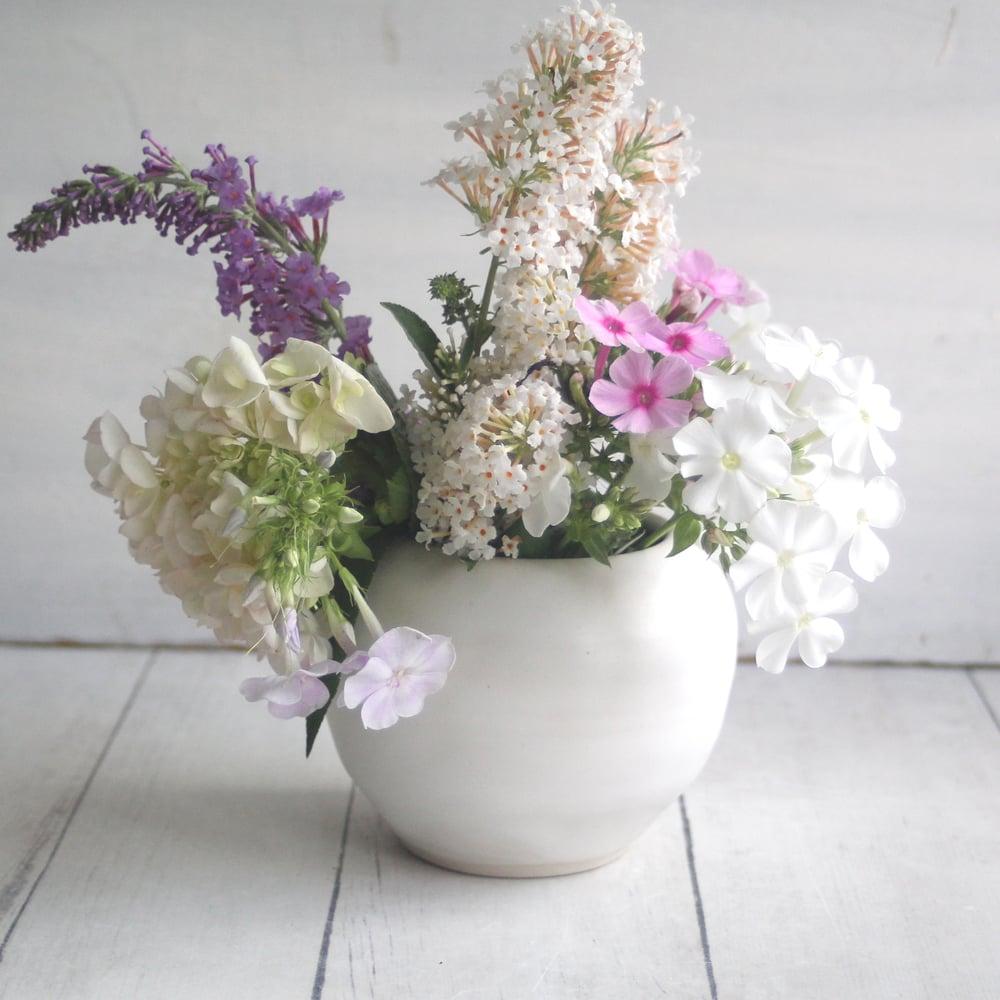 Image of Small Round White Ceramic Vase, Handmade Pottery Vase, Made in USA