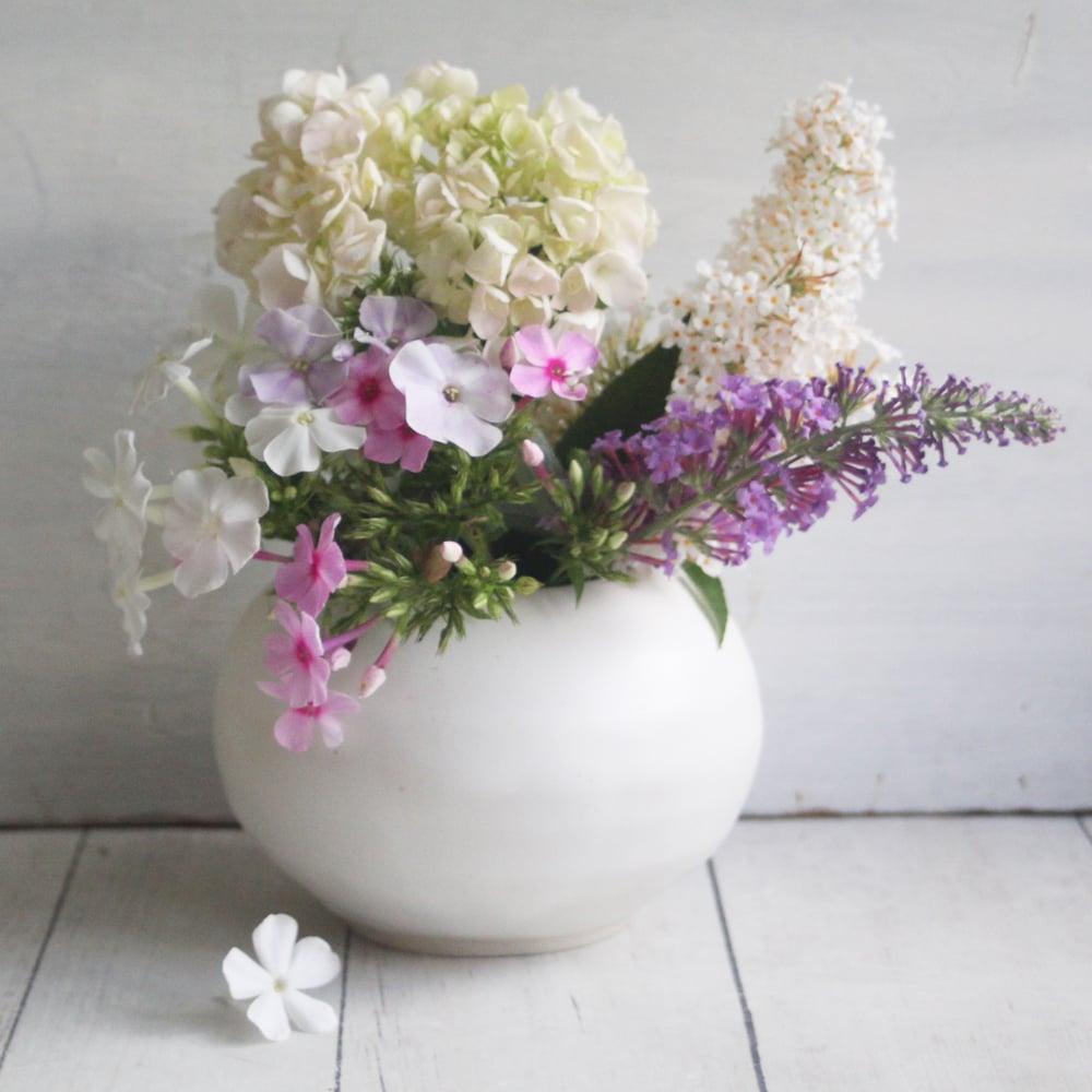 Image of Round White Ceramic Vase, Handmade Pottery Vase, Made in USA