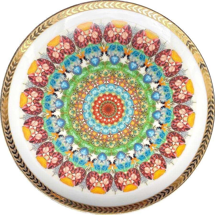 Image of Kaleidoscope D - Vintage porcelain plate - UNIQUE PIECE - #0771