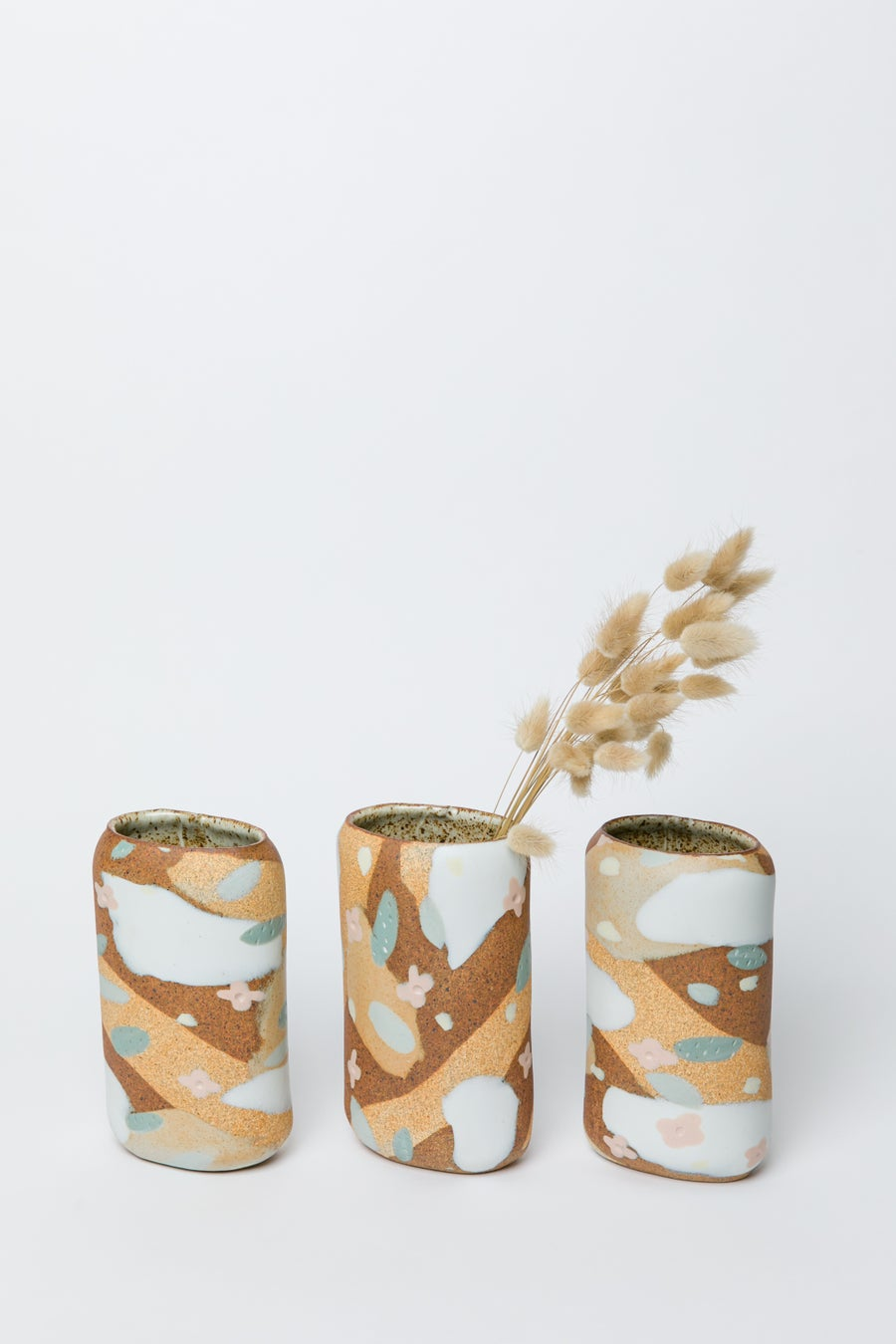 Image of Tall Oval Porcelain Inlay Vase - Desert Sand, Peach Flowers and Sage Leaves