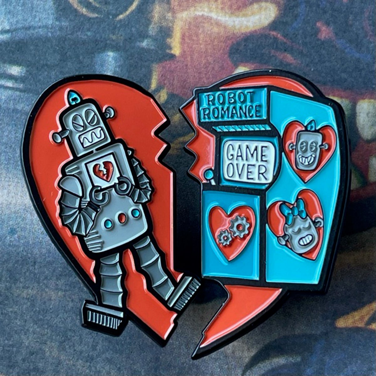 """Robot Romance 2-piece 2"""" Enamel Pin Set! Limited Edition & Hand Numbered"""