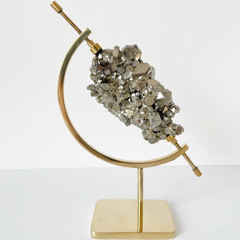 Image of Peruvian Pyrite no.50 + Brass Arc Stand