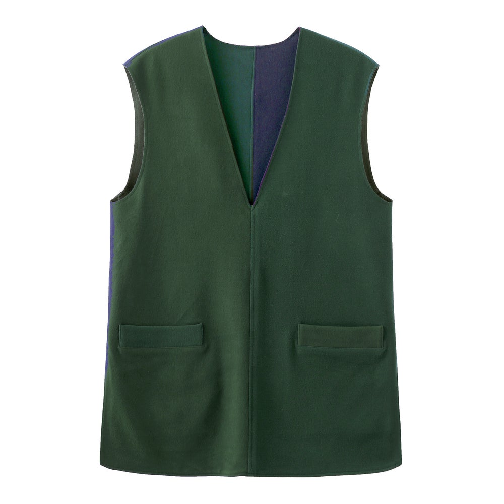TWO-TONE V-NECK VEST / DOUBLE-SIDED