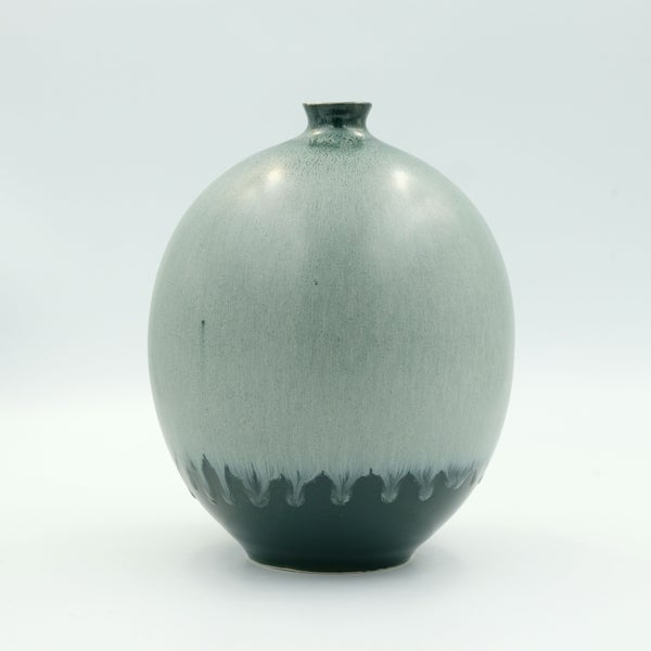 Image of UNIKA BULB VASE IN GREEN AND SILVER GLAZE