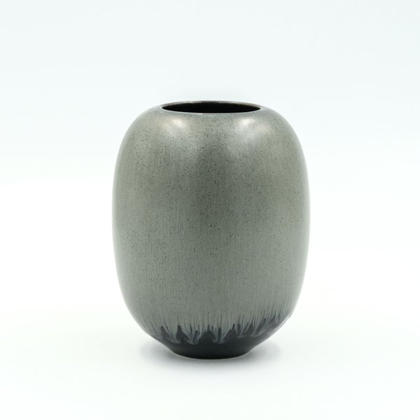 Image of SMALL VASE IN BLACK AND SILVER GLAZE
