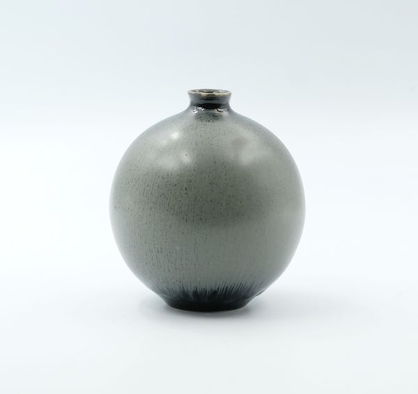 Image of SMALL BULB VASE IN BLACK AND SILVER