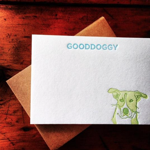 Image of personalized canine notecards (two ink colors)