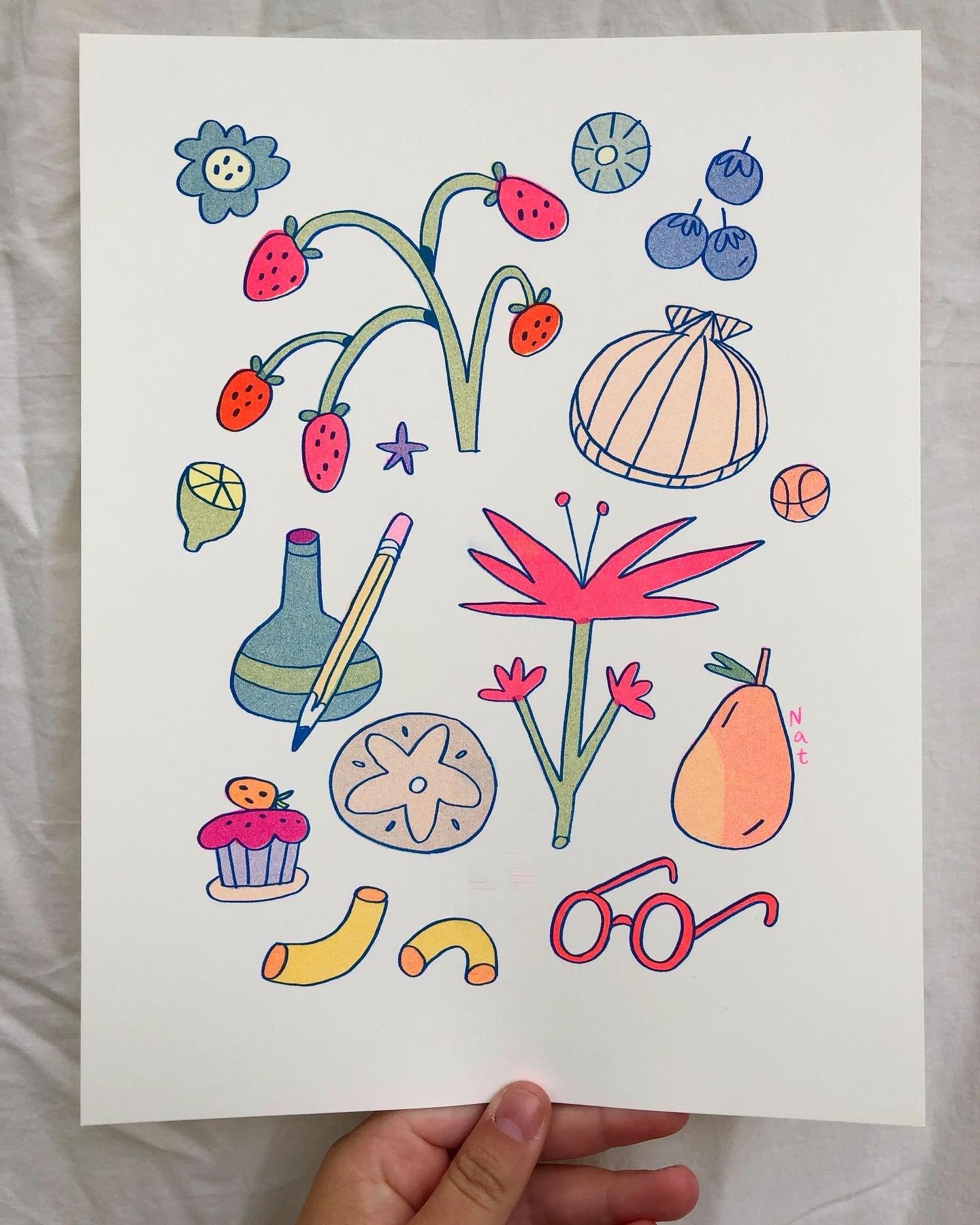 Seashell Flowers ~ Risograph Print