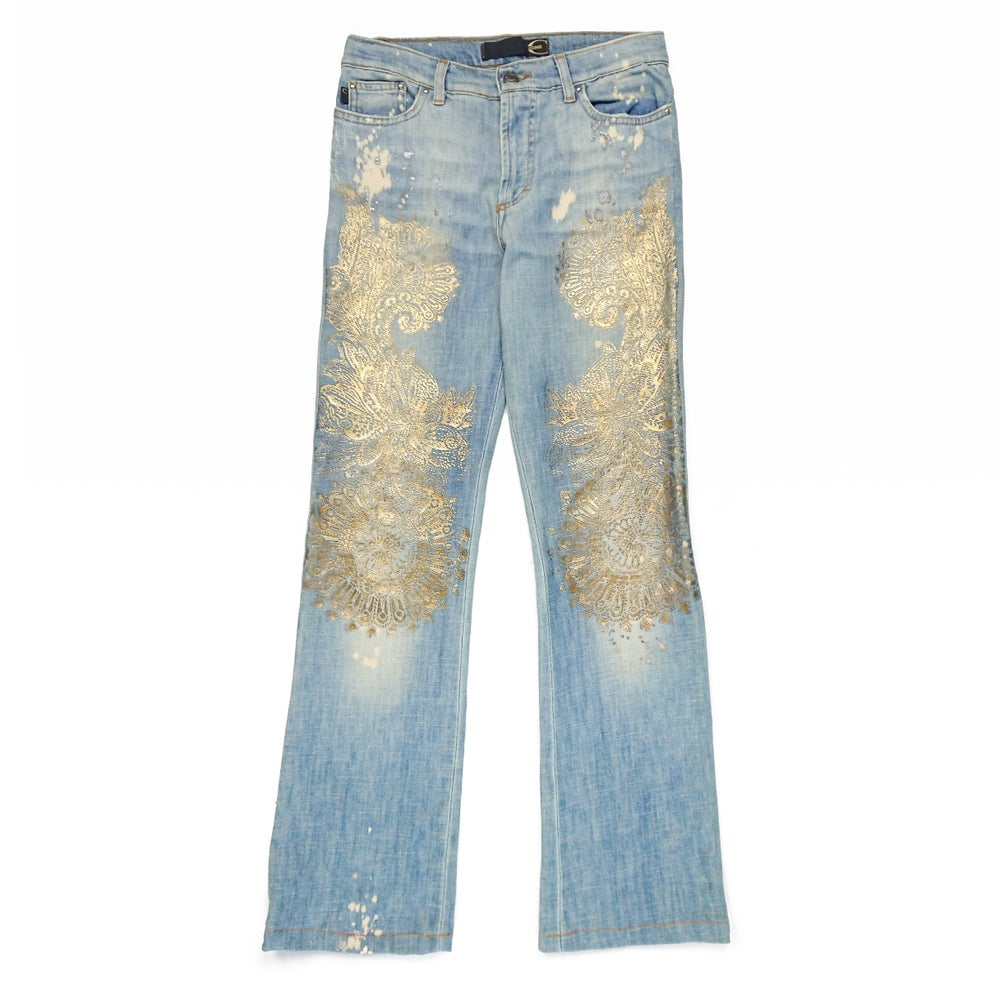 Image of Just Cavalli Gold Pattern Jeans