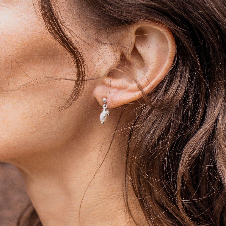 Image of Pearl Teardrops Silver Stud Earrings