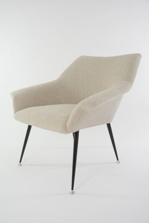 Image of Fauteuil Coquille carrée beige chiné