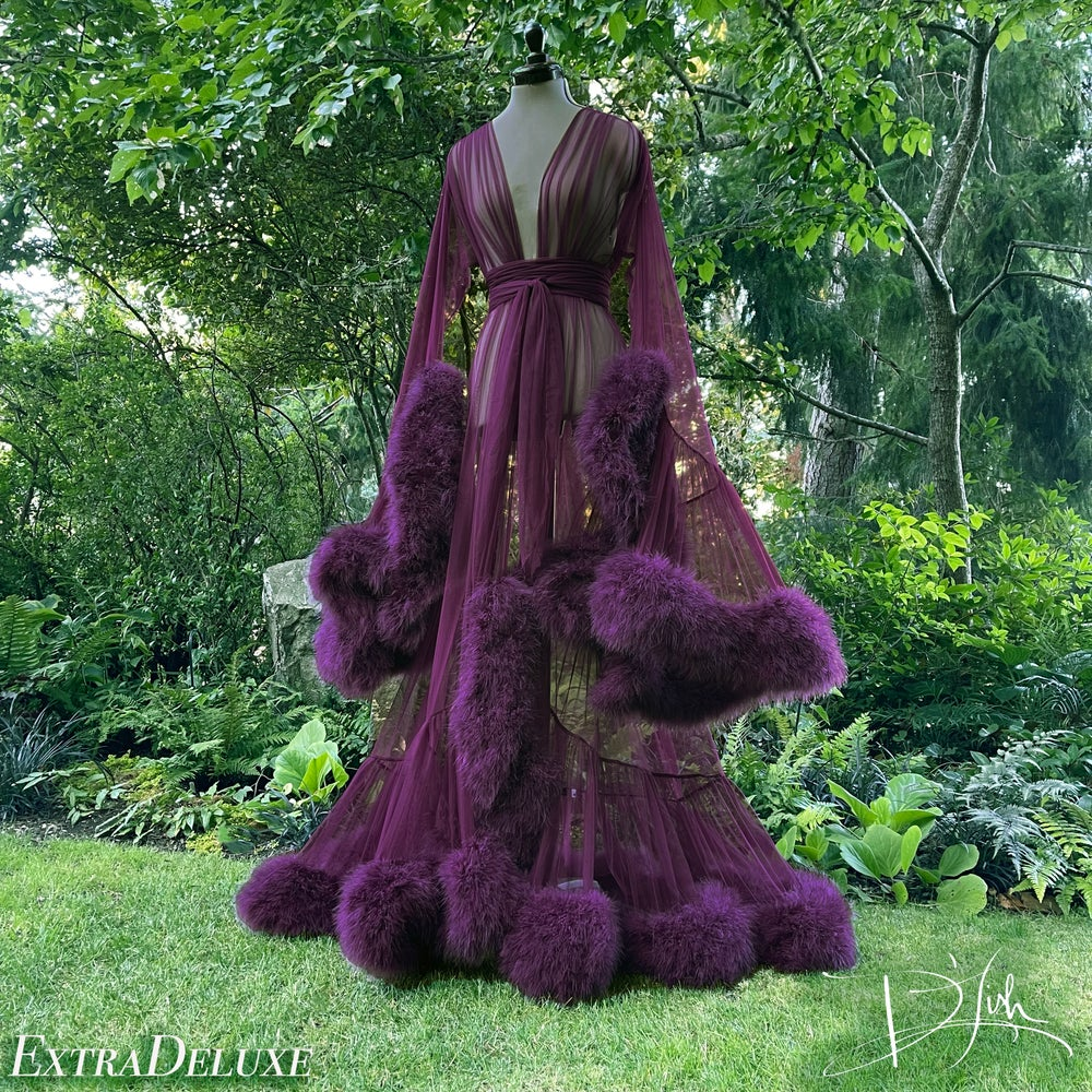 "Image of Aubergine ""Cassandra"" Dressing Gown"