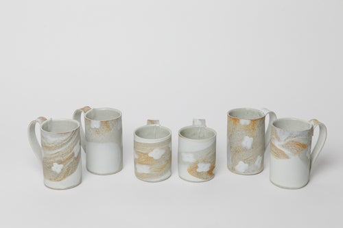 Image of White Flower Granite Sand Stoneware Handled Mug