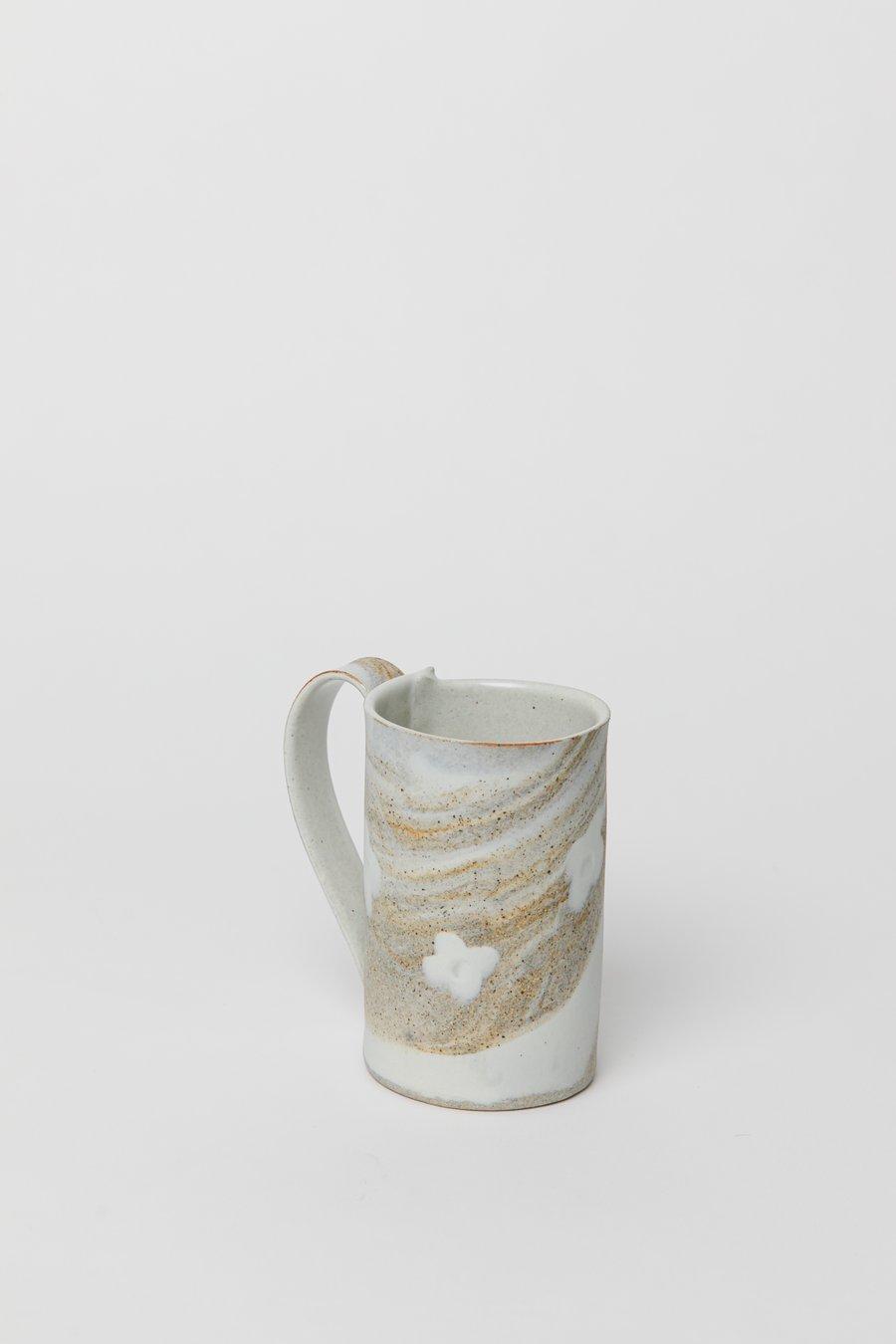 Image of Tall Mug - White Flower Granite Sandy Stoneware