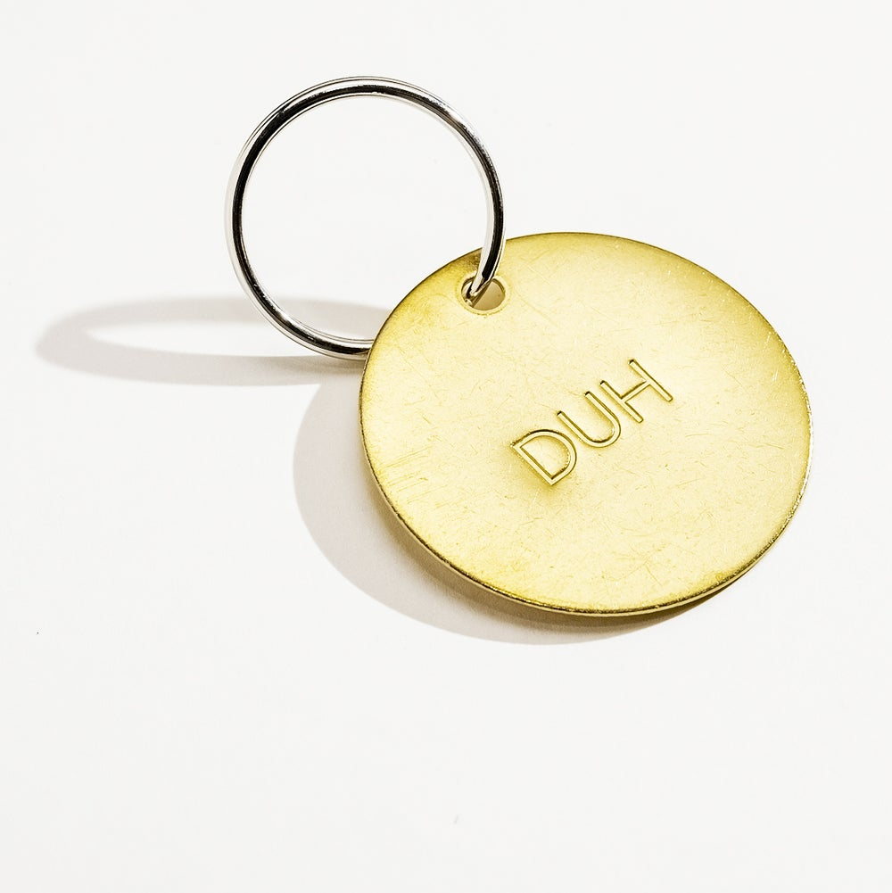 Image of DUH Large Brass Keychain