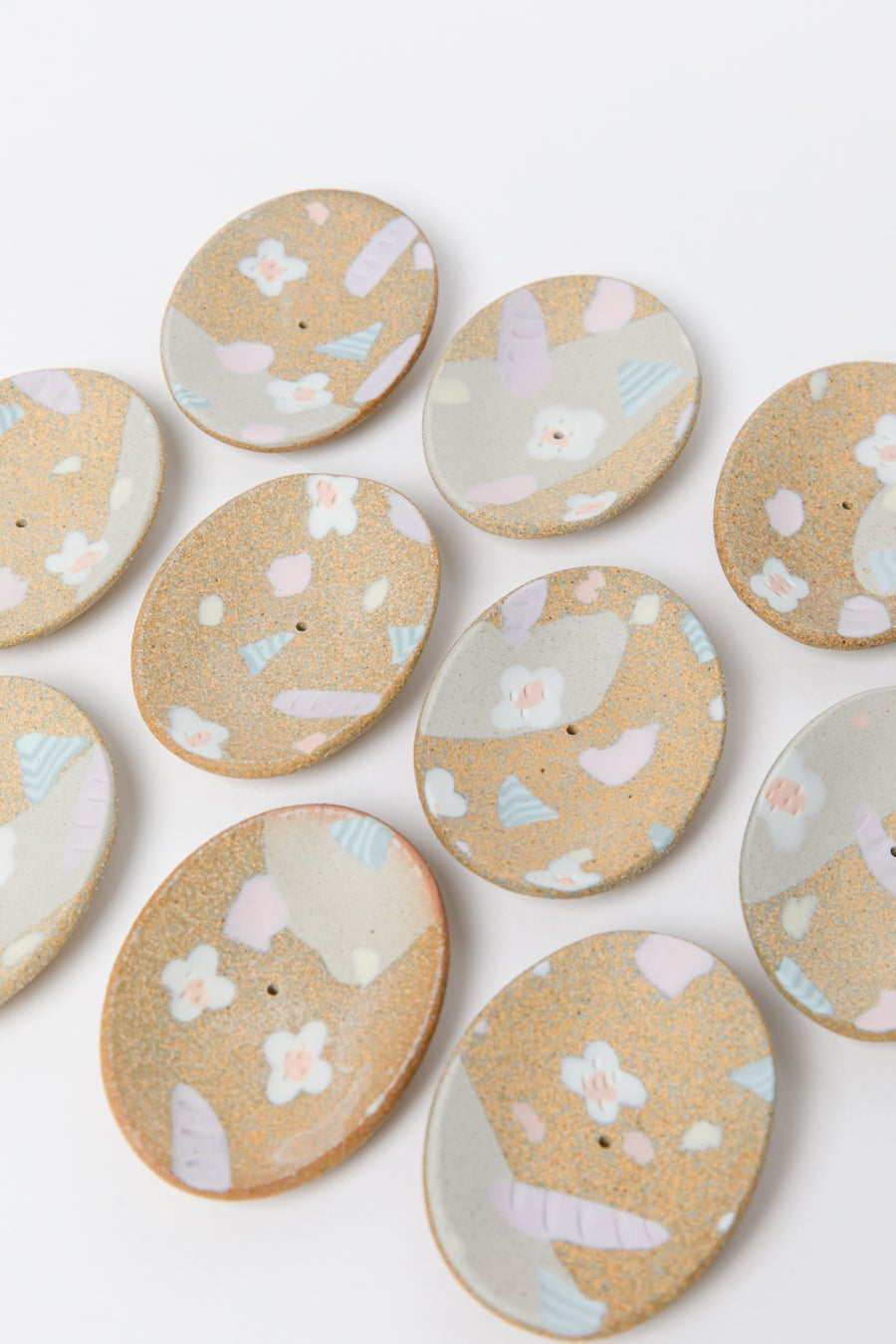 Image of Candy Pastel Flowers on Toasty Clay (pale blue) - Incense Holder
