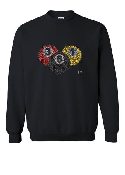 Image of 381 Rhinestone Pool Ball |Black Sweat Shirt