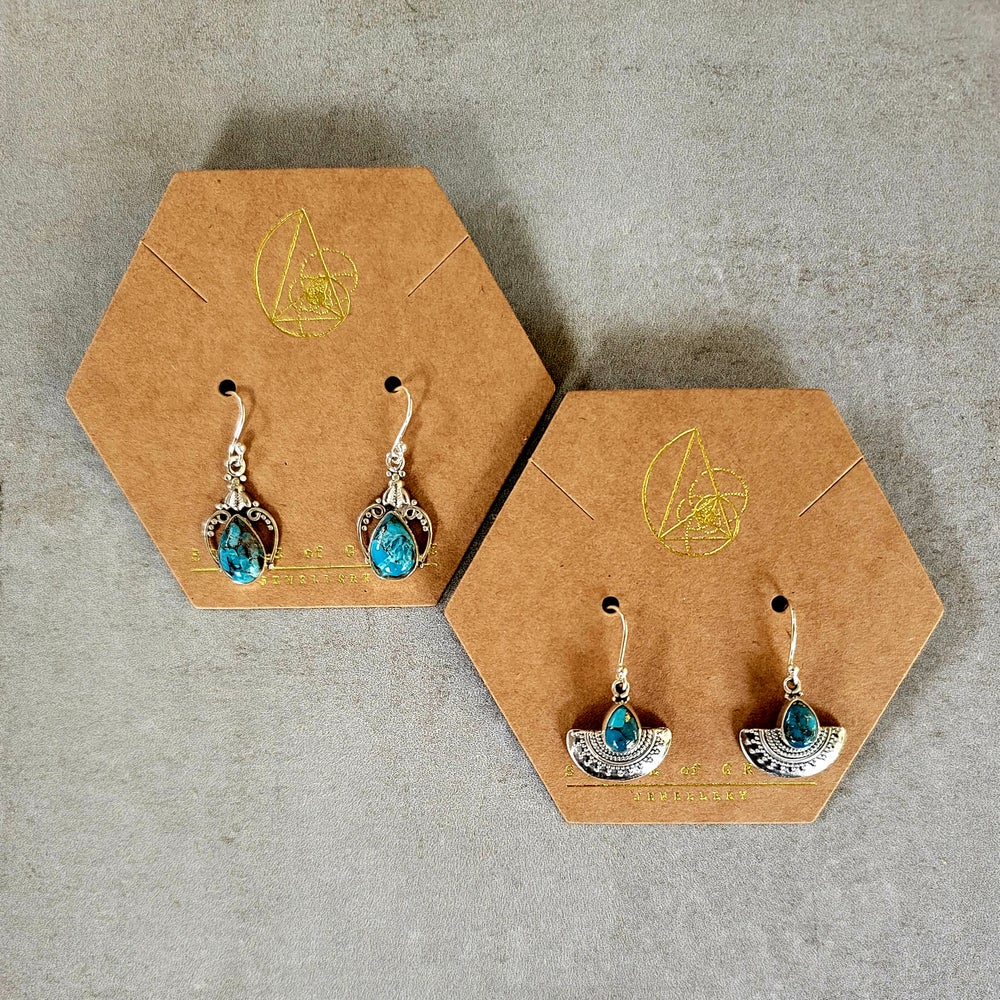 Image of COPPER TURQUOISE Sterling Silver Earrings