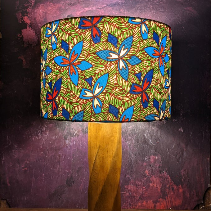 Image of Blue red flowers African print lampshade