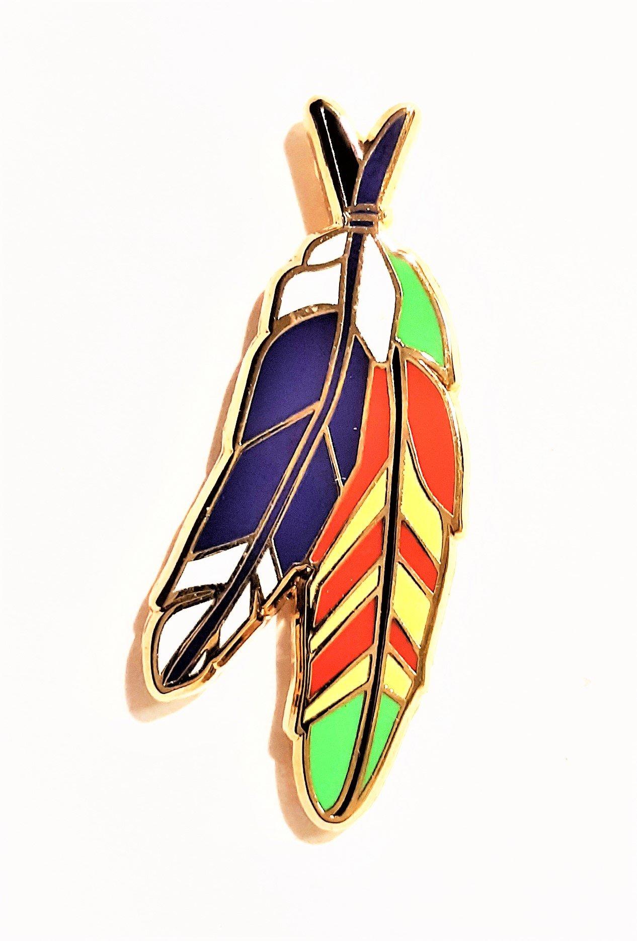 Image of Vietnam Veteran Purple Heart Warrior Feather Pin