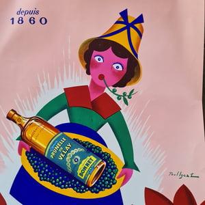Ancienne affiche publicitaire originale Prunelle du Velay