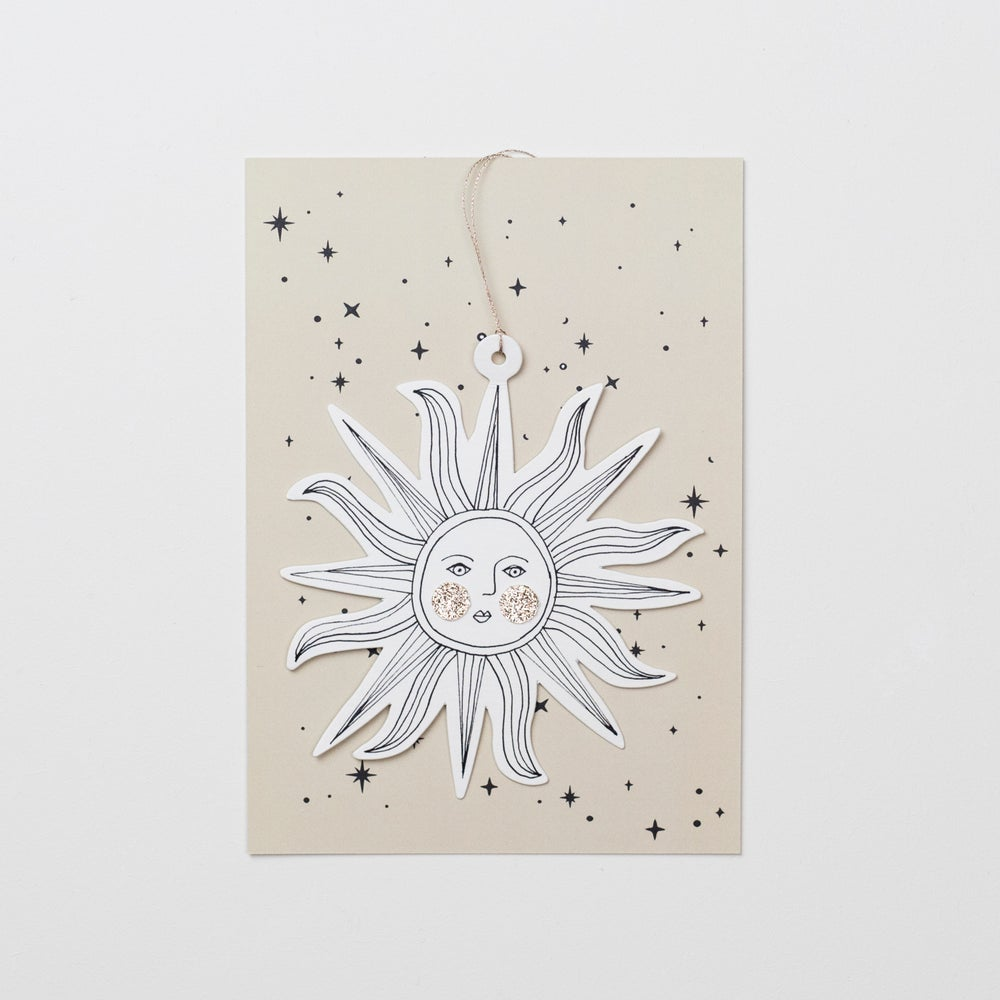 Image of Sunface Papercut Decoration with Postcard and Envelope