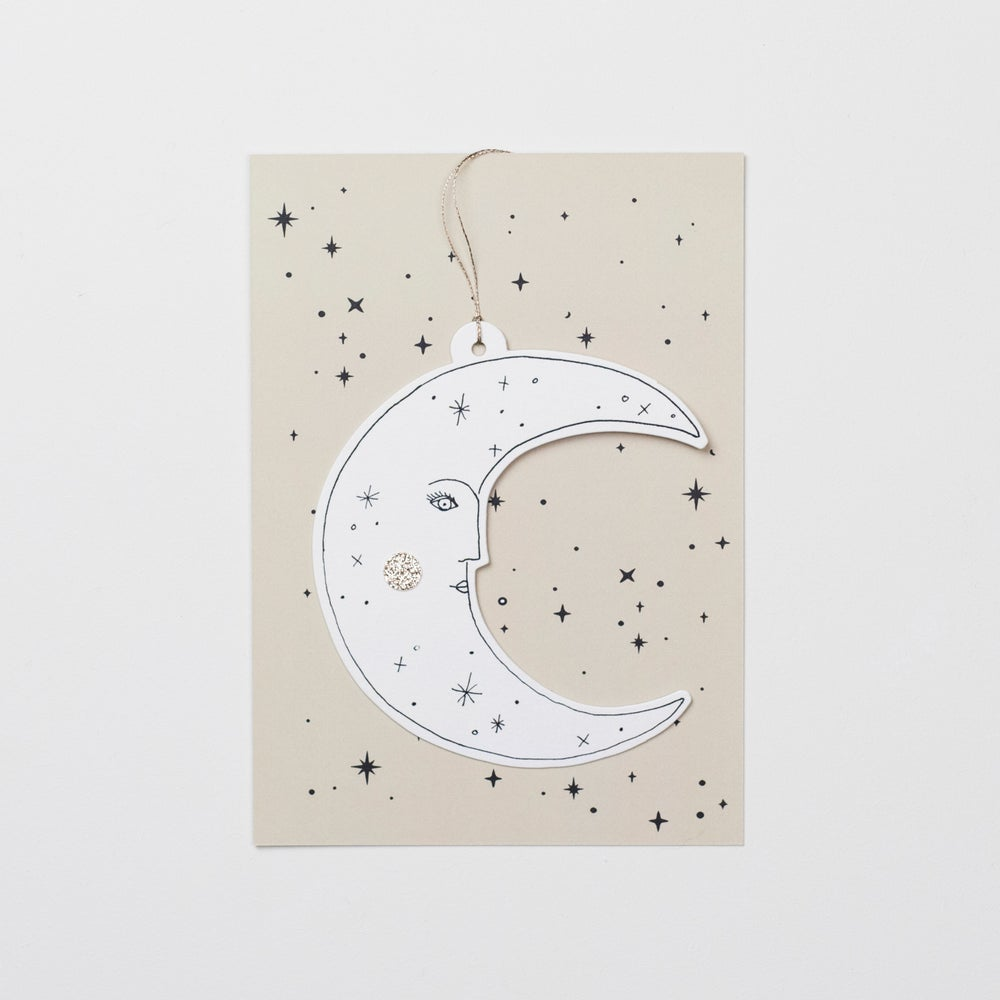 Image of Moonface Papercut Decoration with Postcard and Envelope