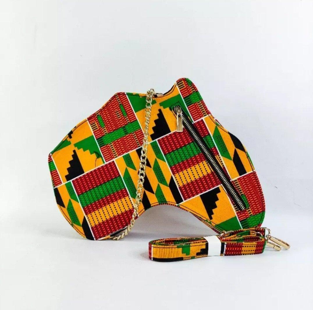 Image of NAIROBI KENTE PRINT AFRICAN MAP BACKPACK