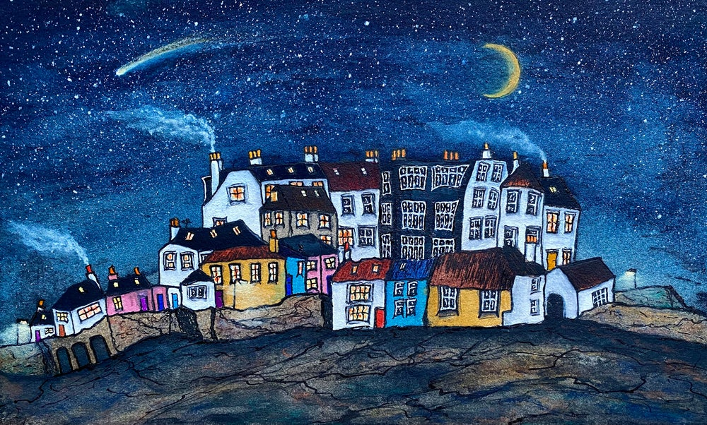 Image of East Neuk (Starry Night with Shooting Star) Framed
