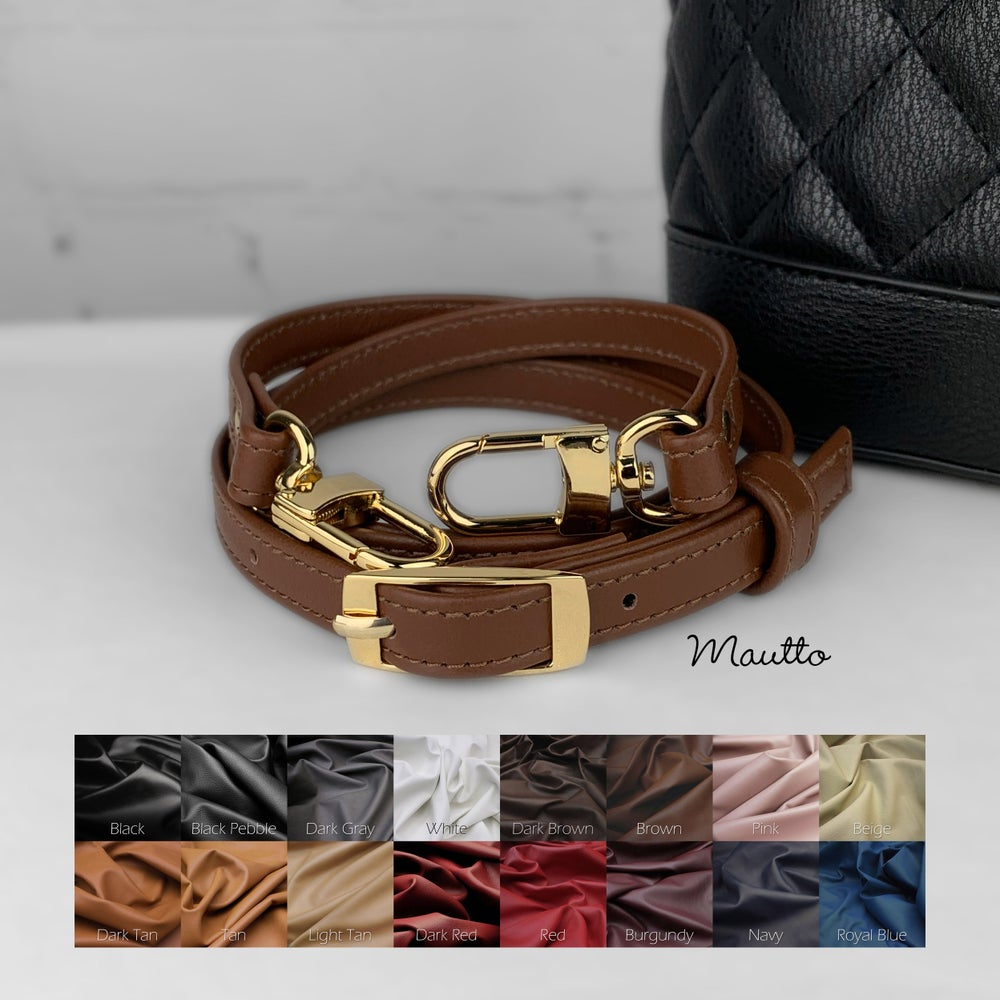 Image of Crossbody Adjustable Buckle Strap - 1/2 inch (13mm) Wide, #16LG Swiveling Clips - for Petite Bags