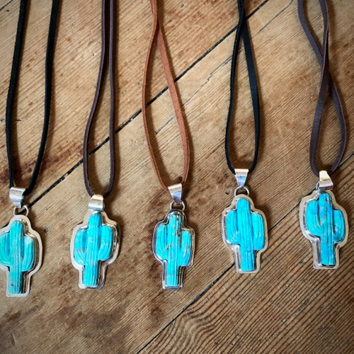 Image of Turquoise Cactus Necklace (Leather)