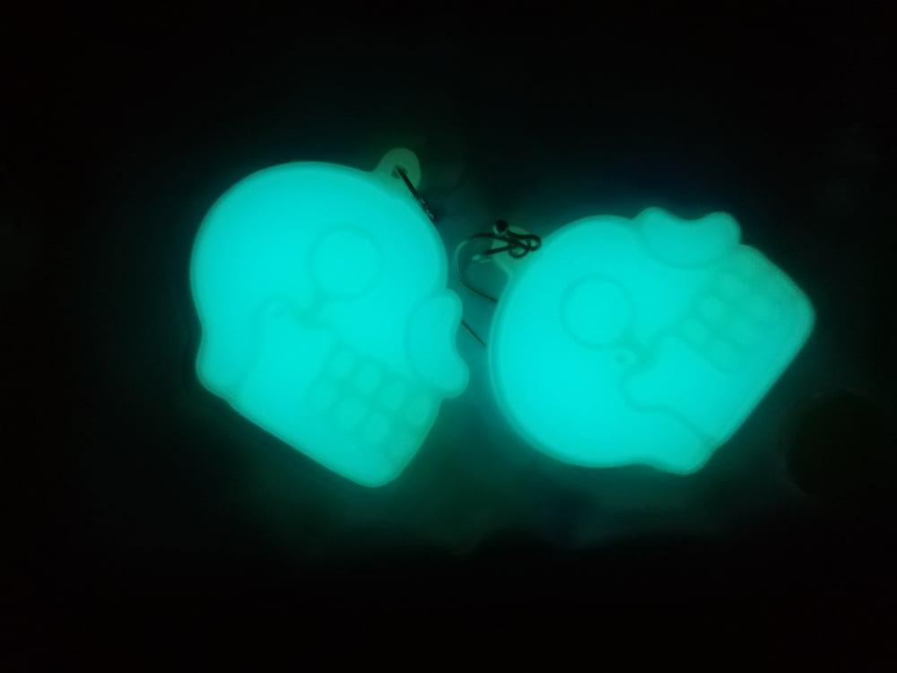 Atomic Green Aztec Skull Earrings