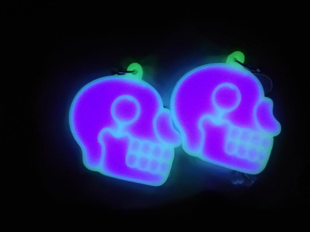 Gamma Ray Purple Aztec Skull Earrings