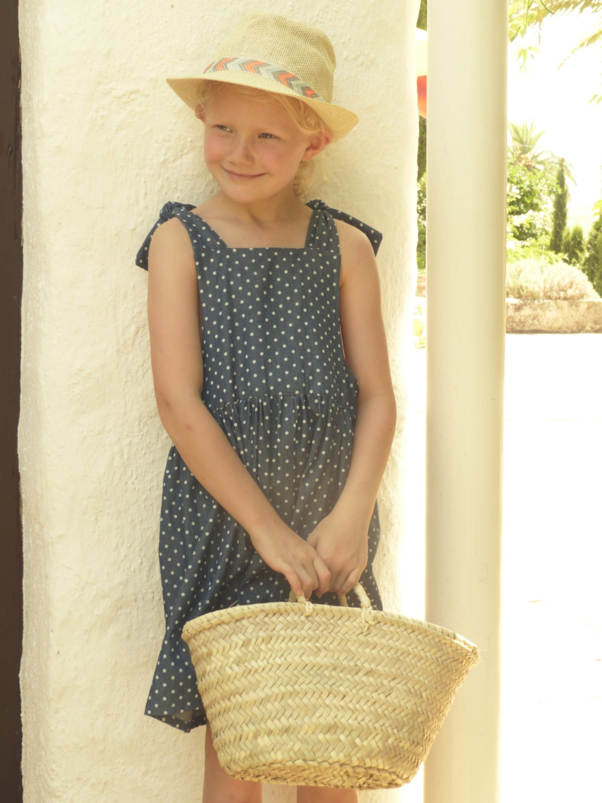 Pinafore Dress-blue with dots