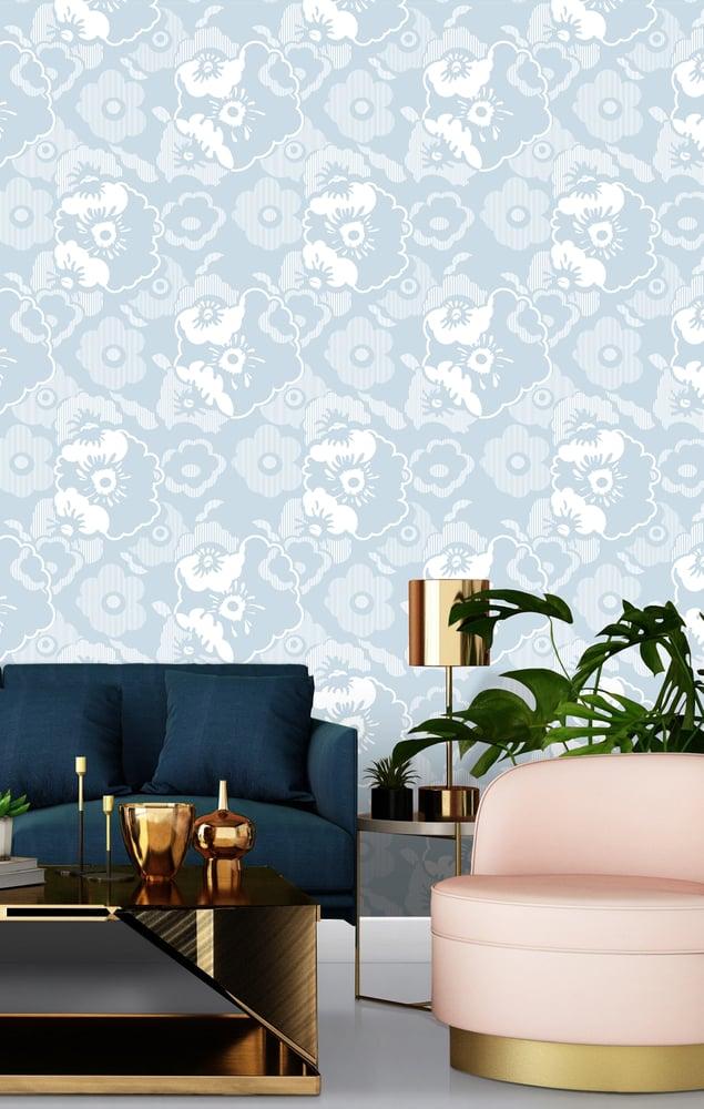 Image of Alice Wallpaper - Powder Paint Blue