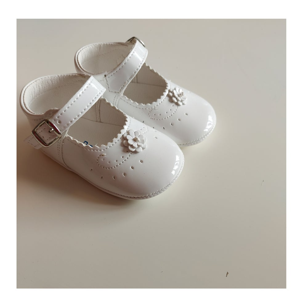 Image of White Patent Leather Pram Shoes
