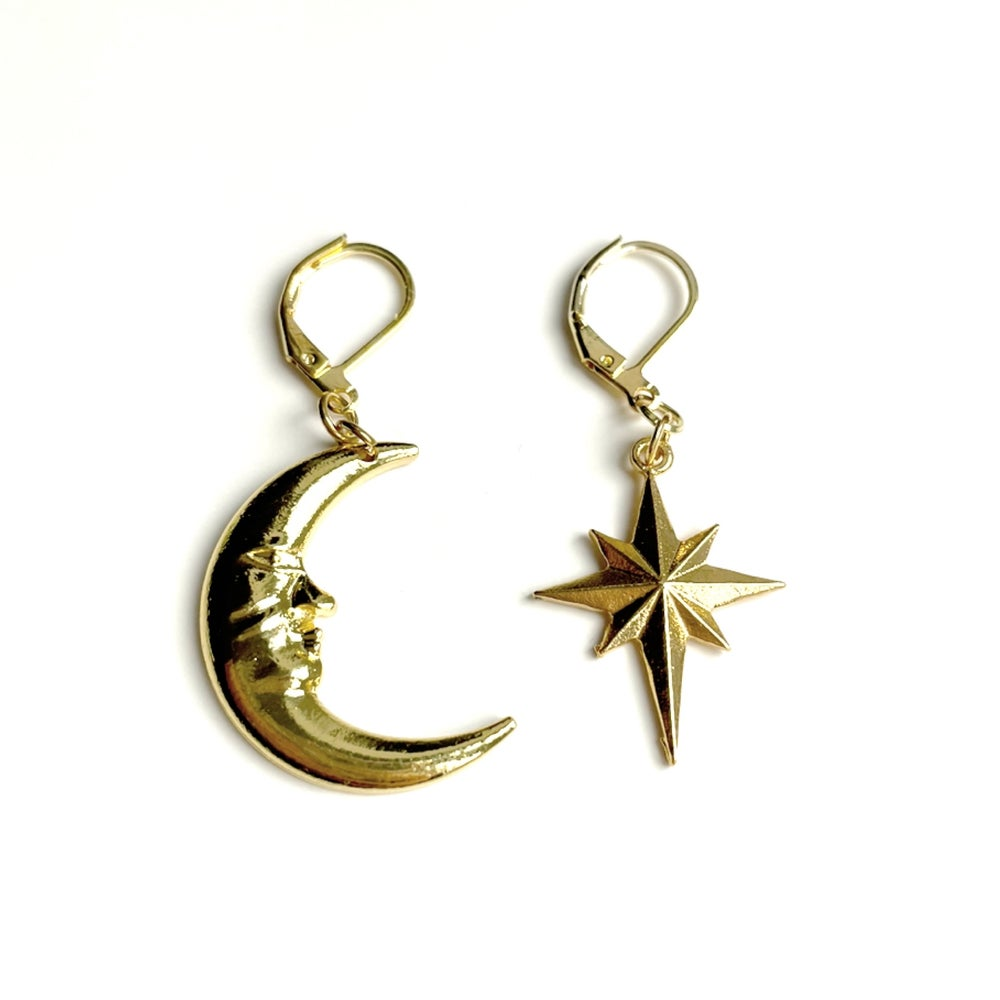 Image of The Lovers - moon and star gold earrings