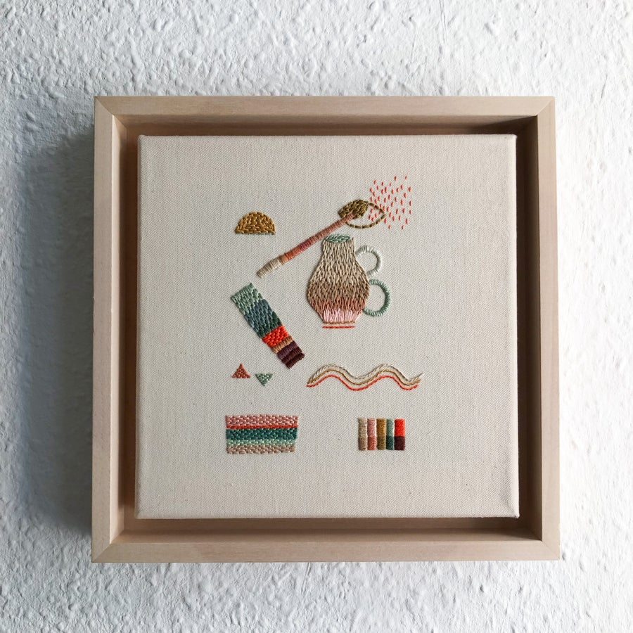 Image of Daily expectations - One of a kind intuitive hand embroidery, hand embroidered art in a wooden frame