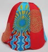 Upcycled blue and red lampshade