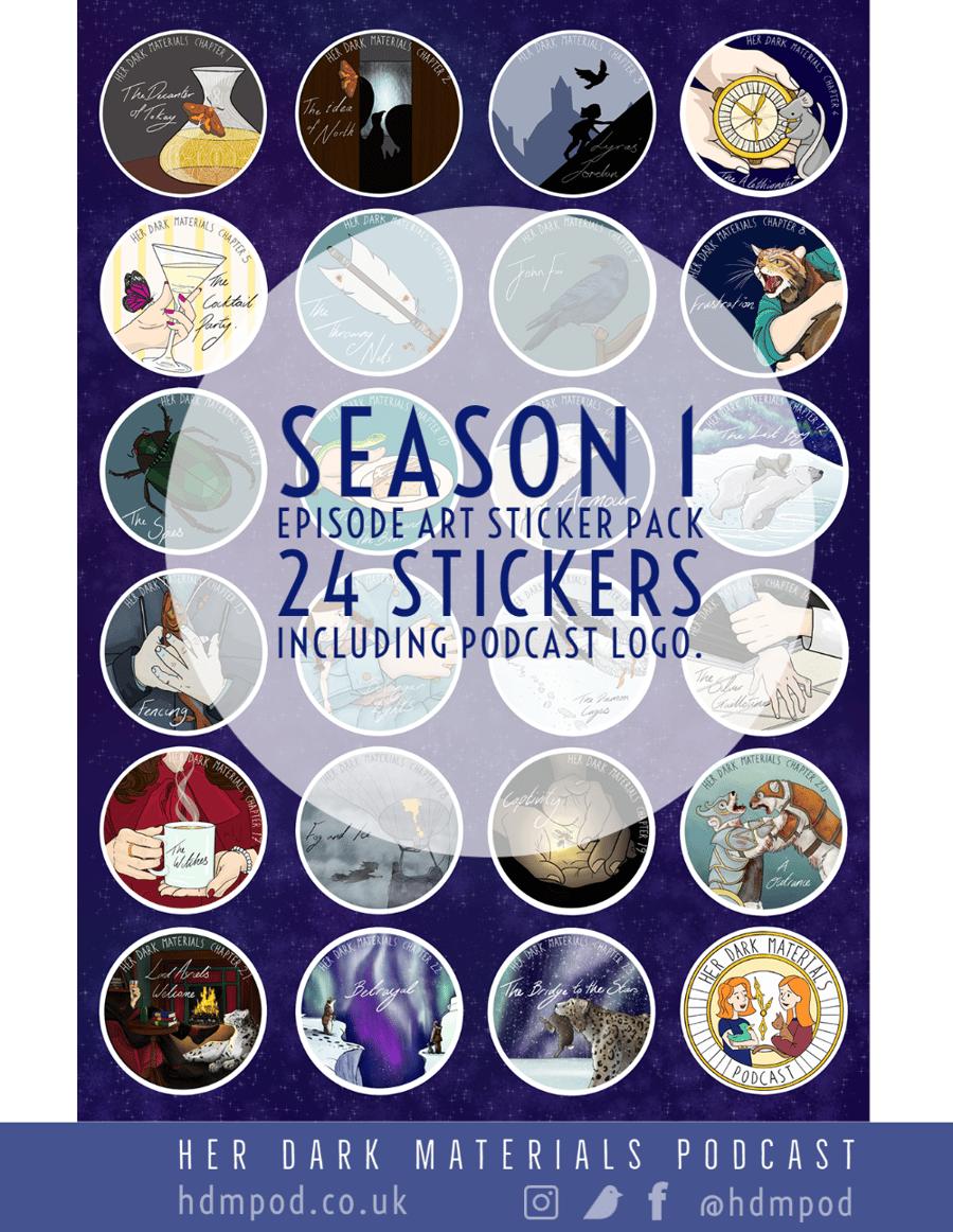 Image of Her Dark Materials Podcast Season 1 Artwork Sticker Pack