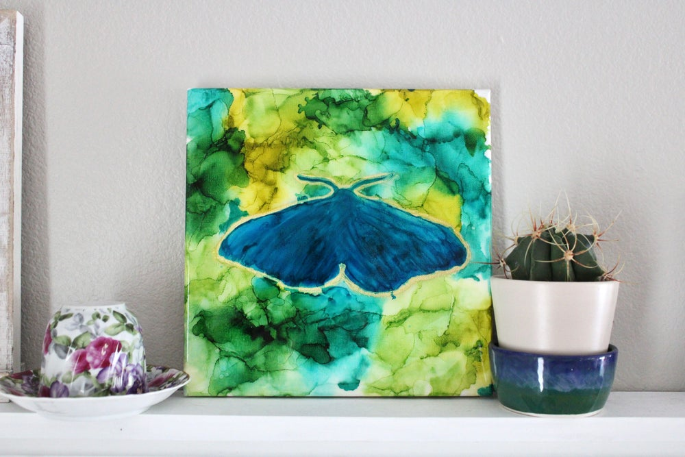 Image of Blue Moth Painting on Canvas