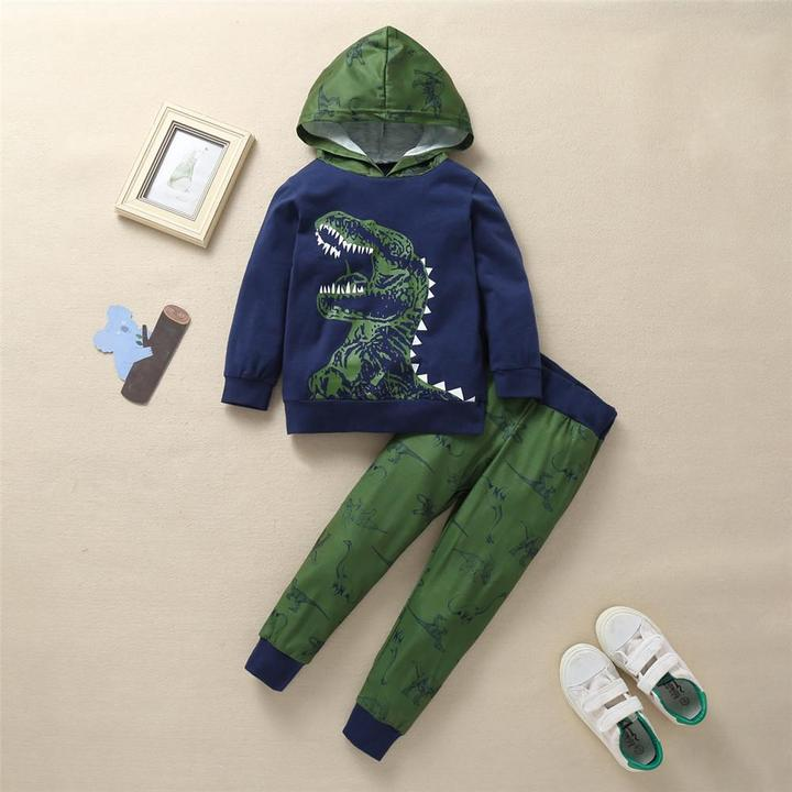 Image of Dino Hooded Jumpsuit Set