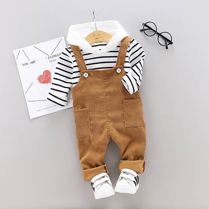 Image of 2 Piece Striped Hooded Set
