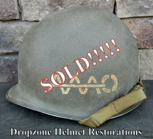 Image of WWII M1 Helmet Fixed bale Front Seam 39th Inf. Regiment, 9th ID AAAO NCO