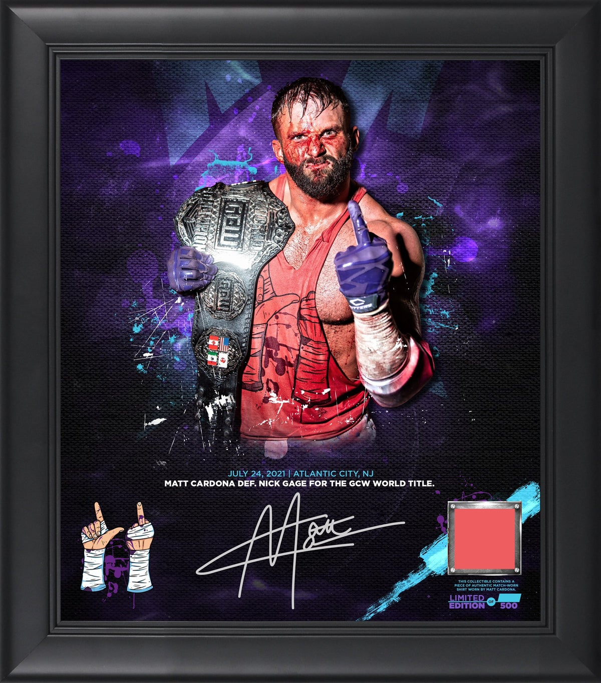 FREE SHIPPING IN USA!!! MATT CARDONA WORLD TITLE BLOODY AUTOGRAPHED PLAQUE