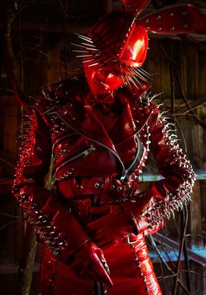Image of Toxic Vision Bunny Gone Bad patent spiked biker jacket