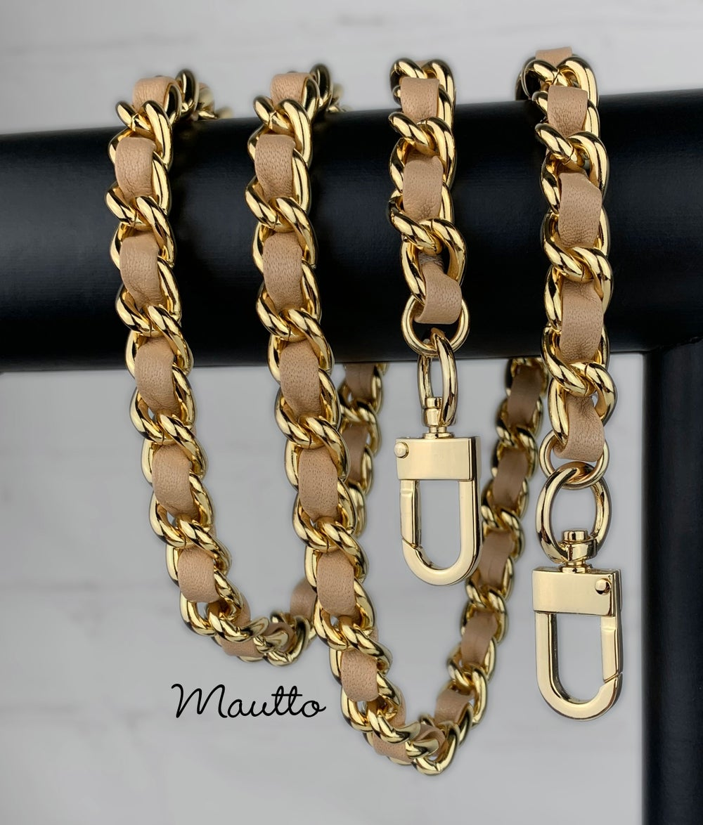 Image of Large Classic GOLD Chain Strap with Leather Woven by Hand - 1/2 inch (12mm) Wide - 12 Leather Colors