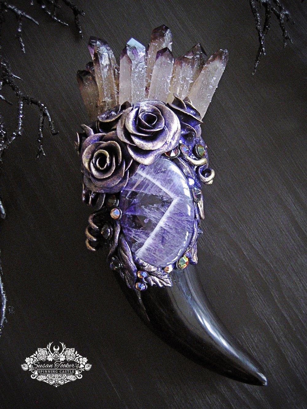 Image of FLOWER FAERIE - Purple Phantom Quartz Crystal Bouquet Wand Amethyst Horn Witchcraft Altar Art