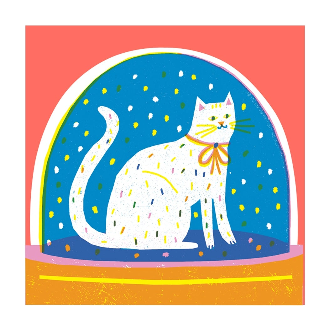 Image of Cat Snowglobe Card