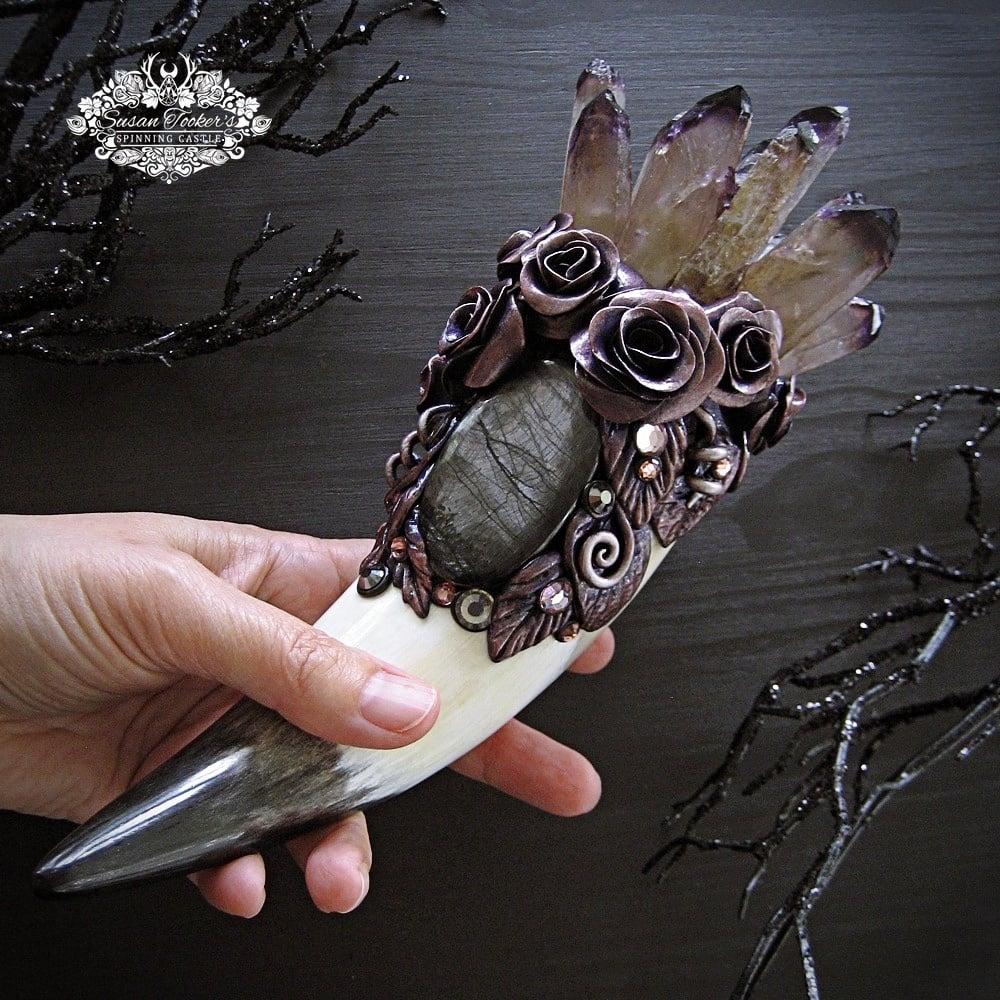 Image of VIOLET ROSE FAE - Purple Phantom Quartz Crystal Bouquet Wand Hypersthene Witchcraft Altar Art